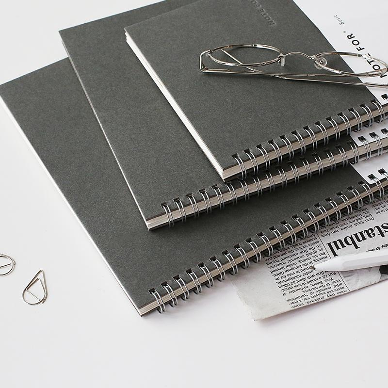 Dark Gray Cover Spiral Blank Page Book A4 Set of 3 - G Home Collection