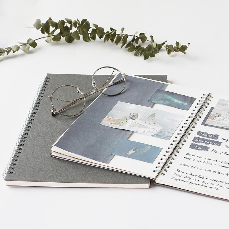 Dark Gray Cover Spiral Blank Page Book A6 Set of 3 - G Home Collection