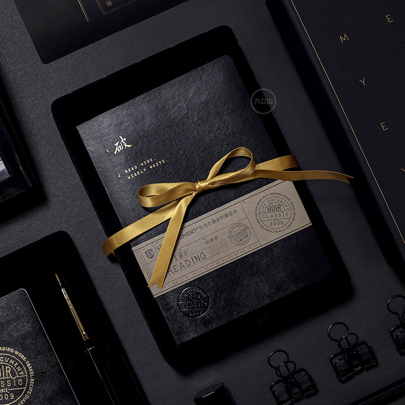 Black Gold Note Book Stationery Gift Set - G Home Collection