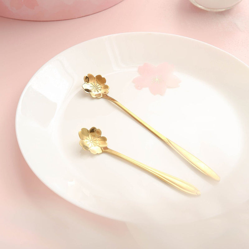 Sakura Gold Spoon Two Sizes Set of 2 - G Home Collection