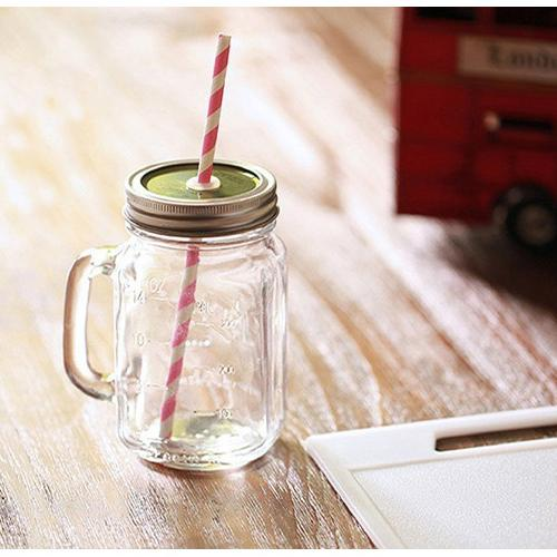Glass Cup with Lid and Straw Randomly Picked Set of 2 - G Home Collection