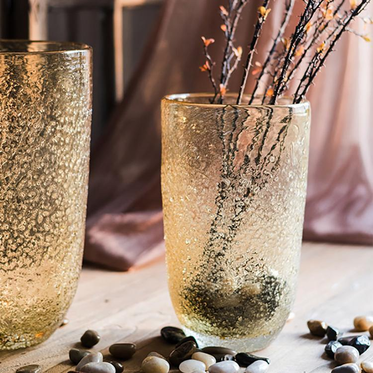 Amber Color Textured Glass Vase - G Home Collection