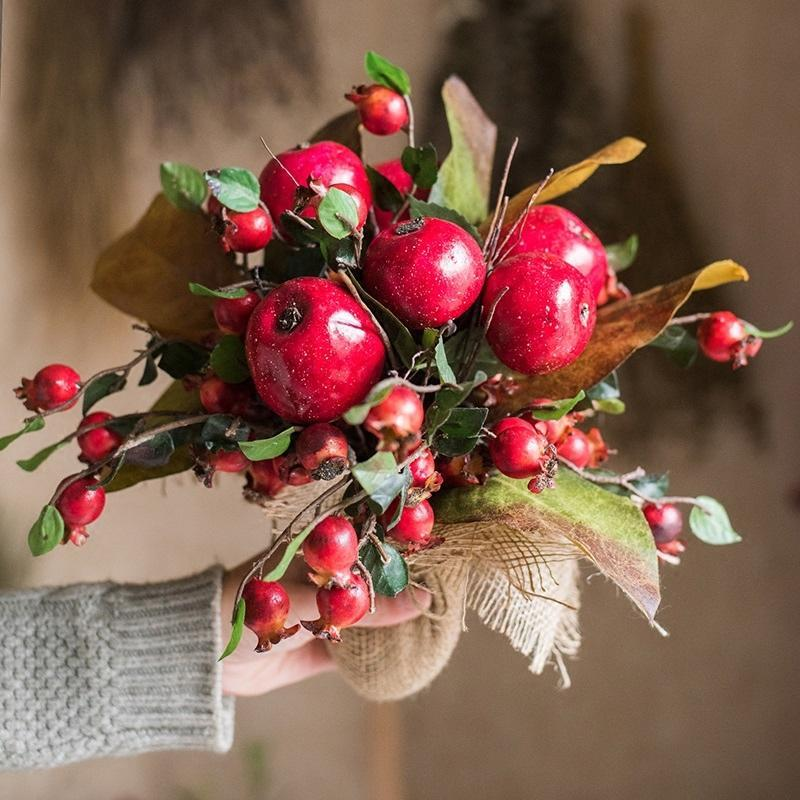 "Artificial Apple Pomegranate Bouquet 12"" Tall - G Home Collection"