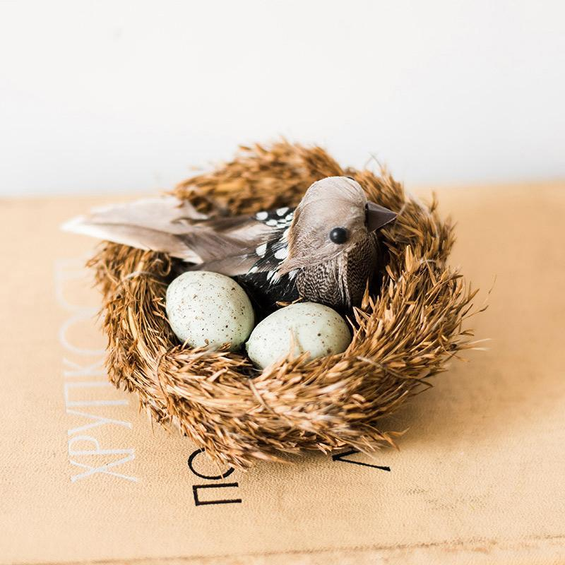 Artificial Bird Nest Ornament Randomly Picked Set of 2 - G Home Collection