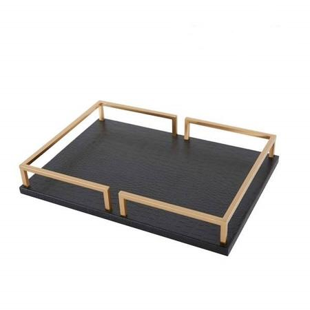 Black Leather Rectangular Decorative Tray - G Home Collection