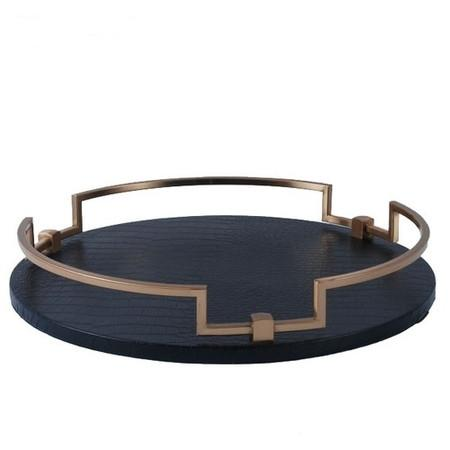 Black Leather Round Decorative Tray - G Home Collection
