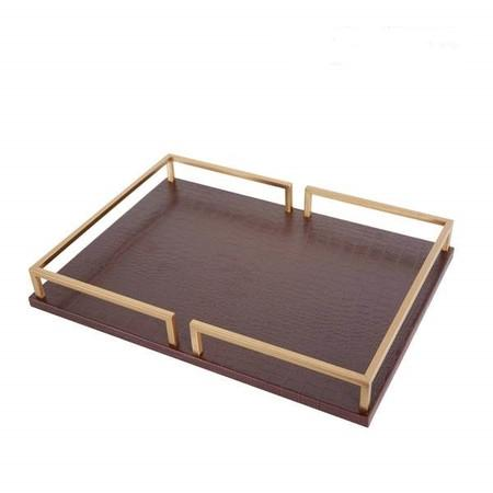 Brown Leather Rectangular Decorative Tray - G Home Collection