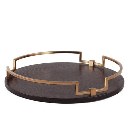 Brown Leather Round Decorative Tray - G Home Collection