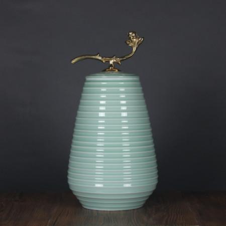 Turquoise Horizontal Line Accent Porcelain Jar With Copper Lid Large - Gentille Home Collection - 1