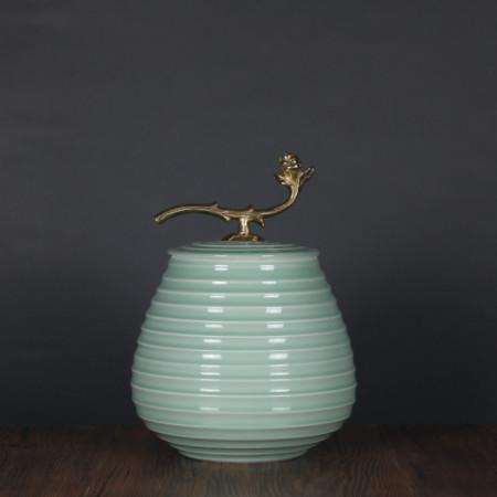 Turquoise Horizontal Line Accent Porcelain Jar With Copper Lid Medium - Gentille Home Collection - 1