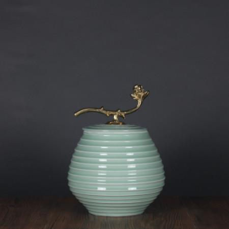 Turquoise Horizontal Line Accent Porcelain Jar With Copper Lid Small - Gentille Home Collection - 1