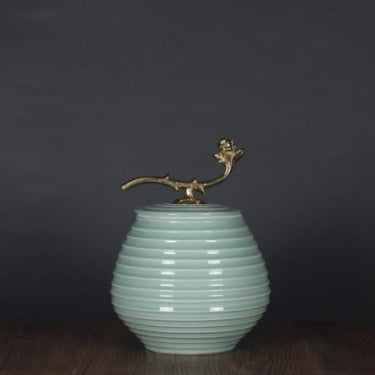 Turquoise Horizontal Line Accent Porcelain Jar With Copper Lid Small - G Home Collection