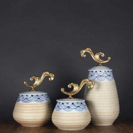Handcrafted Blue Cloud Pattern Beige Accent Porcelain Jar With Copper Lid Medium - G Home Collection