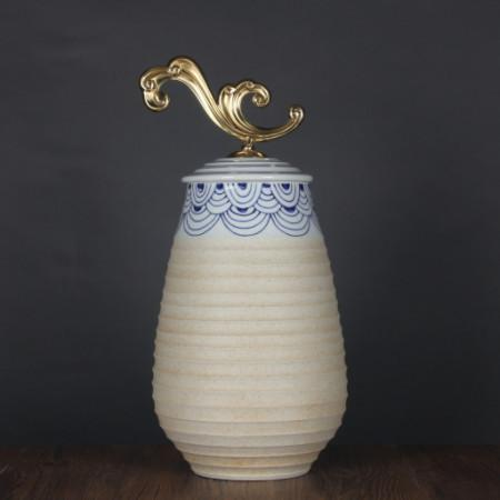 Handcrafted Blue Cloud Pattern Beige Accent Porcelain Jar With Copper Lid Large - Gentille Home Collection - 1