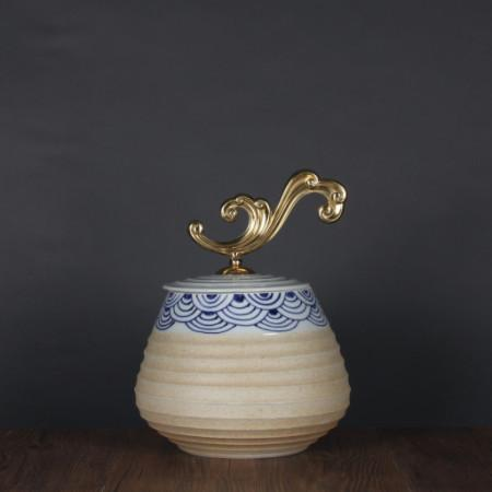 Handcrafted Blue Cloud Pattern Beige Accent Porcelain Jar With Copper Lid Medium - Gentille Home Collection - 1