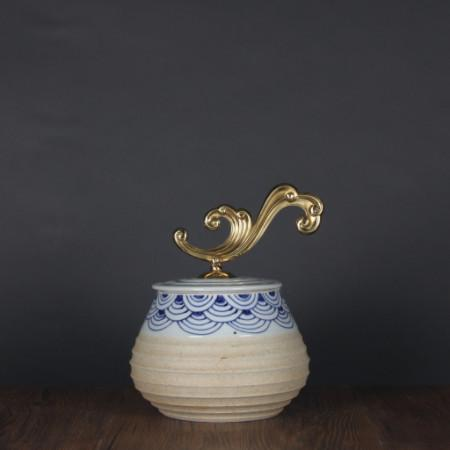 Handcrafted Blue Cloud Pattern Beige Accent Porcelain Jar With Copper Lid Small - Gentille Home Collection - 1