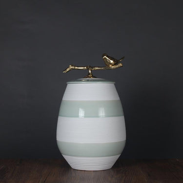Pistachio Green Line Accent Porcelain Jar with Copper Lid - G Home Collection
