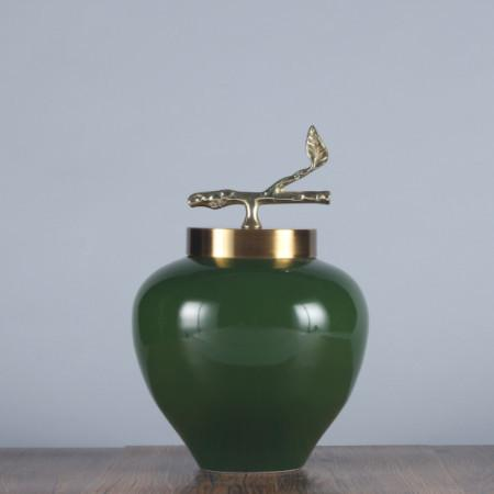Green Solid Color Accent Porcelain Jar With Copper Lid Small - Gentille Home Collection - 1