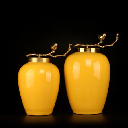 Yellow Solid Color Accent Porcelain Jar With Copper Branch Lid Small - G Home Collection