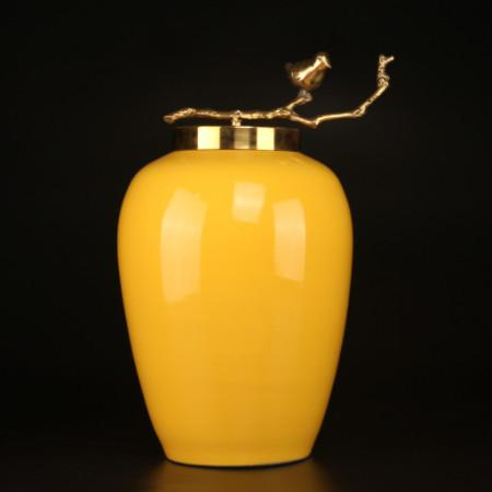 Yellow Solid Color Accent Porcelain Jar With Copper Branch Lid Large - Gentille Home Collection - 1