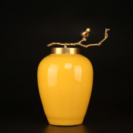 Yellow Solid Color Accent Porcelain Jar With Copper Branch Lid Small - Gentille Home Collection - 1