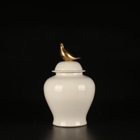 White Solid Color Accent Porcelain Jar With Copper Bird Lid Small - G Home Collection