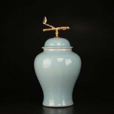 Turquoise Solid Color Accent Porcelain Jar With Copper Branch Lid Large - G Home Collection