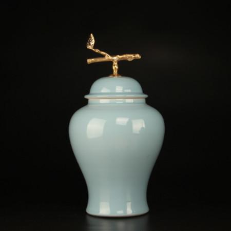 Turquoise Solid Color Accent Porcelain Jar With Copper Branch Lid Large