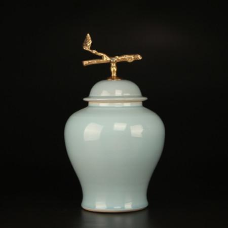 Turquoise Solid Color Accent Porcelain Jar With Copper Branch Lid Small - Gentille Home Collection - 1
