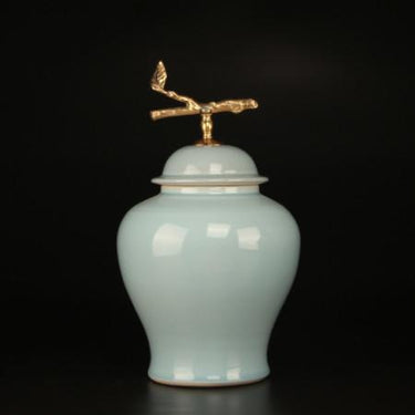 Turquoise Solid Color Accent Porcelain Jar With Copper Branch Lid Small - G Home Collection