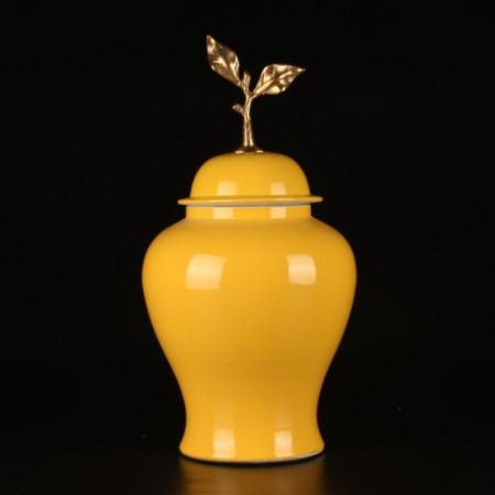 Yellow Solid Color Accent Porcelain Jar With Copper Leaf Lid Large