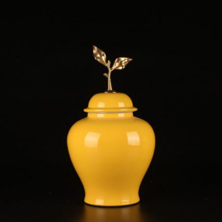 Yellow Solid Color Accent Porcelain Jar With Copper Leaf Lid Small