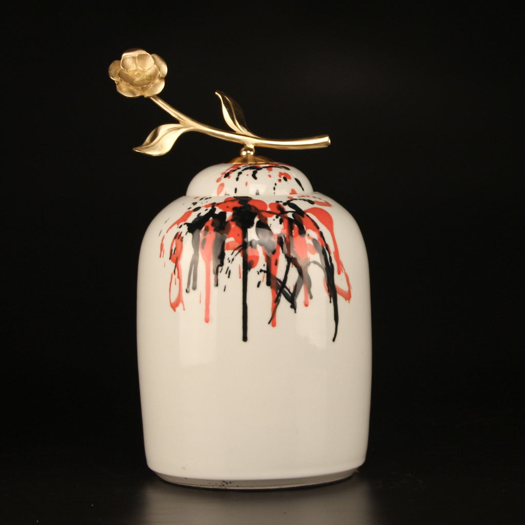 Hand Drawn Orange And Black Abstract Accent Porcelain Jar With Copper Flower Lid Large - Gentille Home Collection - 1