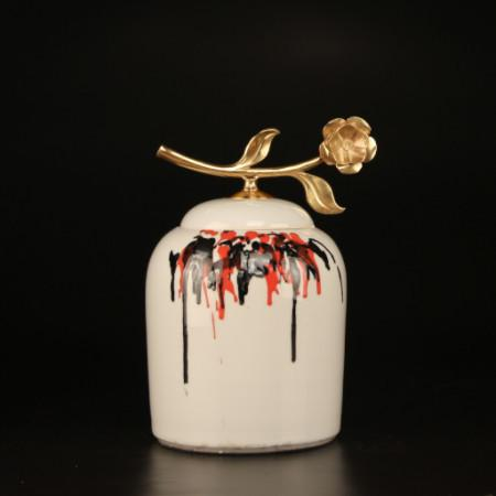 Hand Drawn Orange And Black Abstract Accent Porcelain Jar With Copper Flower Lid Small
