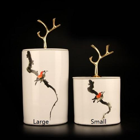 Hand Drawn Bird on Branch Accent Porcelain Jar with Copper Branch Lid Small
