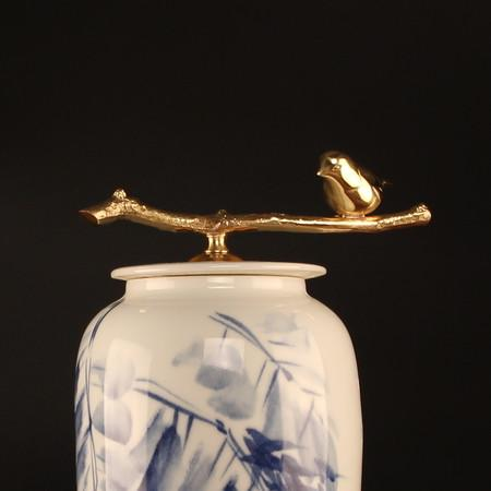 Hand Drawn Bird Blue Accent Porcelain Jar With Copper Lid Large