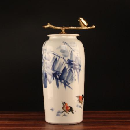 Hand Drawn Bird Blue Accent Porcelain Jar With Copper Lid Large - Gentille Home Collection - 1