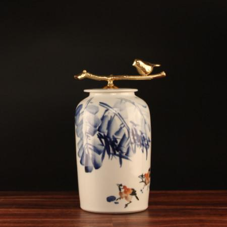 Hand Drawn Bird Blue Accent Porcelain Jar With Copper Lid Medium - G Home Collection