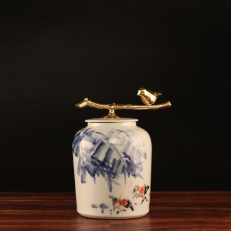 Hand Drawn Bird Blue Accent Porcelain Jar With Copper Lid Small