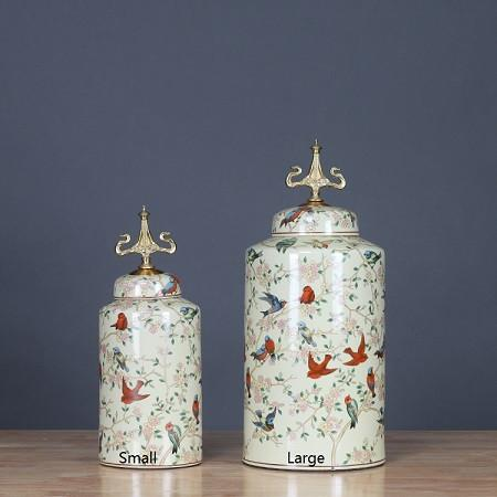 Handcrafted Bird Pattern Accent Porcelain Jar With Copper Lid Small - Gentille Home Collection - 1