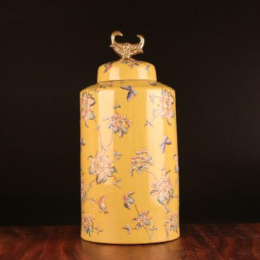 Handcrafted Yellow Flower Pattern Accent Porcelain Jar With Copper Lid Large - G Home Collection