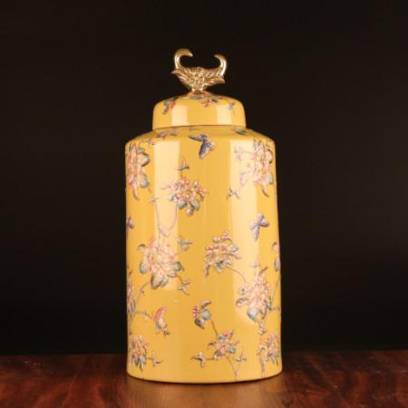 Handcrafted Yellow Flower Pattern Accent Porcelain Jar With Copper Lid Large