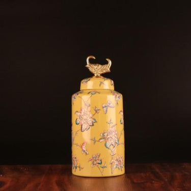 Handcrafted Yellow Flower Pattern Accent Porcelain Jar With Copper Lid Small - G Home Collection