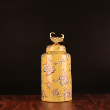 Handcrafted Yellow Flower Pattern Accent Porcelain Jar With Copper Lid Small