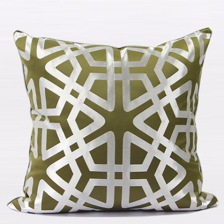 "Green Geometry Pattern Pillow 20""X20"" - Gentille Home Collection - 1"