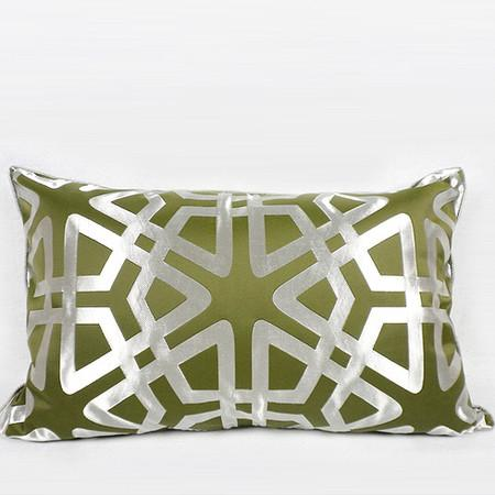 "Green Geometry Pattern Pillow 14""X22"" - Gentille Home Collection - 1"
