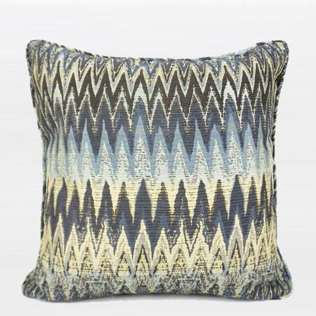 "Blue Embroidered Gold Wave Line Pillow 20""X20"""
