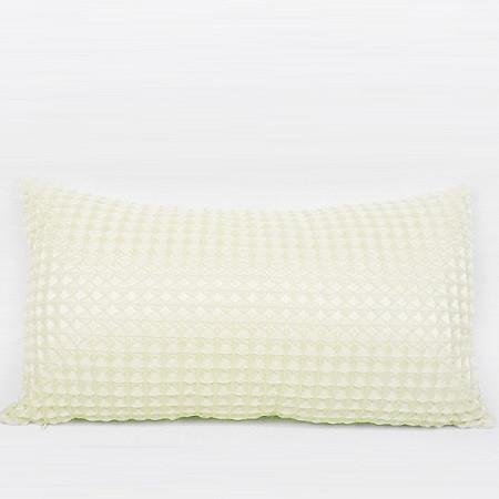 "Beige Textured Checkered Pillow 12""X22"" - Gentille Home Collection - 1"