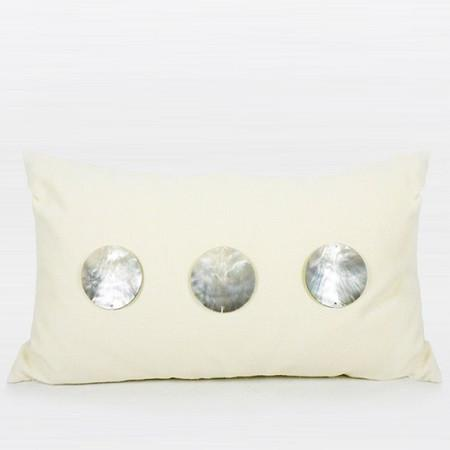 "Cream Color Round Shell Pillow 12""X20"" - Gentille Home Collection - 1"