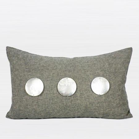 "Dark Gray Handmade Round Shell Pillow  12""X20"" - Gentille Home Collection - 1"